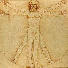 Leonardo Da Vinci drawing of human body