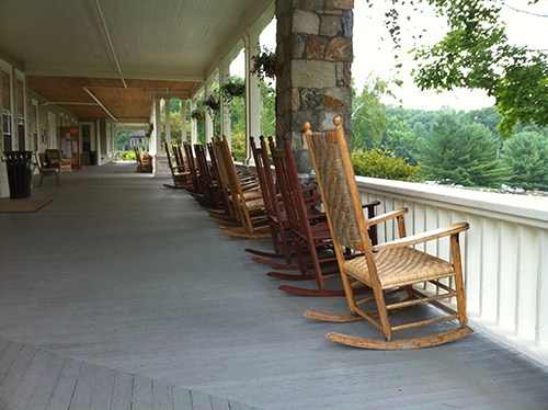 Rocking chairs on the porch at The Inn, Silver Bay YMCA